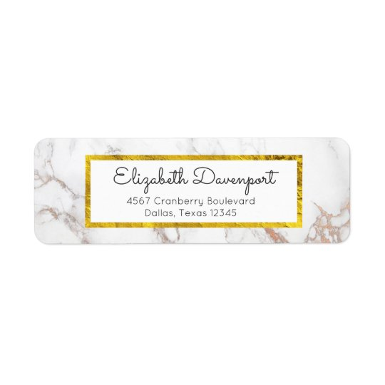Étiquette Marbre blanc avec le cadre de feuille d'or de Faux