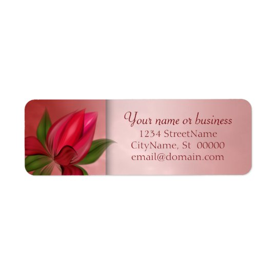 Étiquette Marbre floral rouge et rose