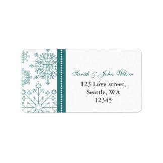 Étiquette Mariage blanc turquoise d'hiver de flocons de