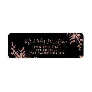 Étiquette Mariage chic noir floral de typographie rose d'or