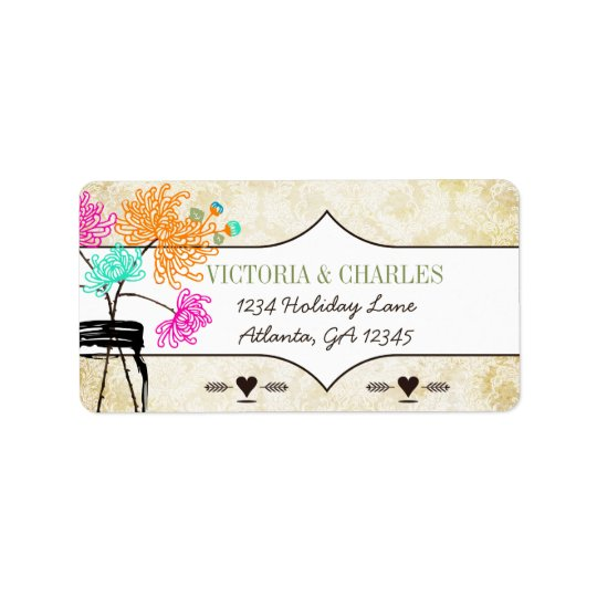 Étiquette Mariage coloré de fleur sauvage de pot de maçon de