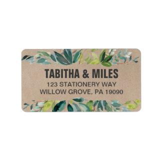 Étiquette Mariage de feuillage de Papier d'emballage