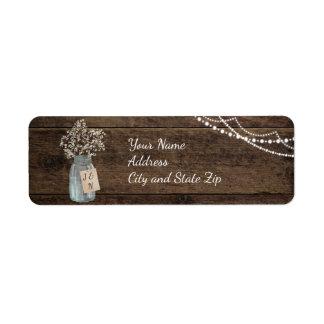 Étiquette Mariage de pot de maçon du souffle du bébé en bois