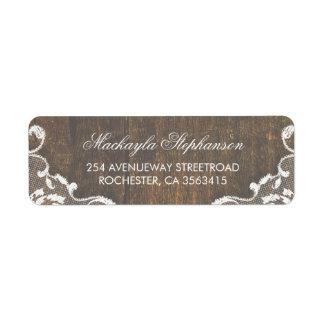 Étiquette Mariage en bois rustique de dentelle