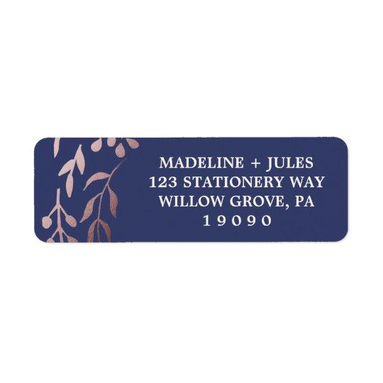 Étiquette Mariage feuillu rose élégant de cadre d'or et de