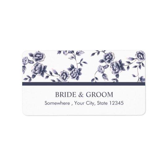Étiquette Mariage floral bleu et blanc vintage