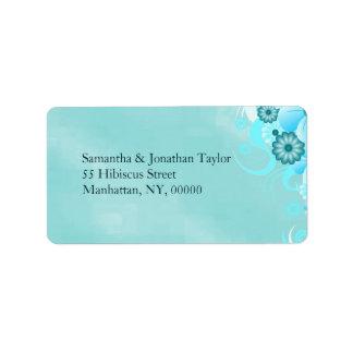 Étiquette Mariage floral bleu foncé de ketmie de mer
