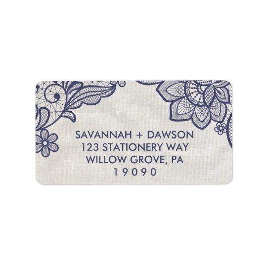 Étiquette Mariage floral de la dentelle | de toile de jute