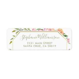 Étiquette Mariage floral de roses d'aquarelle et de feuille