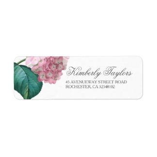 Étiquette Mariage floral d'hortensia rose