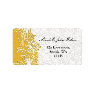 Étiquette Mariage floral jaune et blanc de ressort