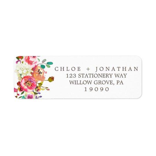 Étiquette Mariage floral simple de bouquet d'aquarelle