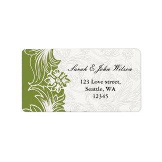 Étiquette Mariage floral vert et blanc de ressort