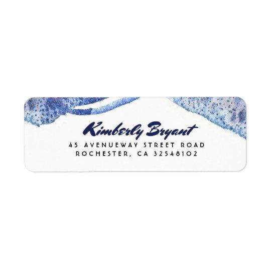Étiquette Mariage moderne en cristal d'aquarelle bleue