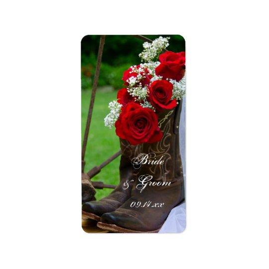 Étiquette Mariage occidental de roses de cowboy de pays
