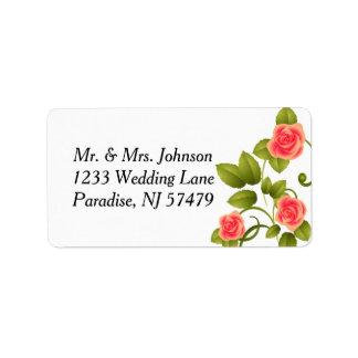 Étiquette Mariage rose de corail