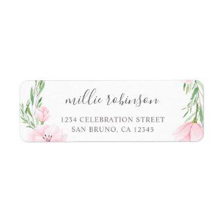 Étiquette Mariage rose de guirlande de fleurs d'aquarelle