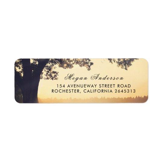 Étiquette Mariage rustique d'été d'arbre