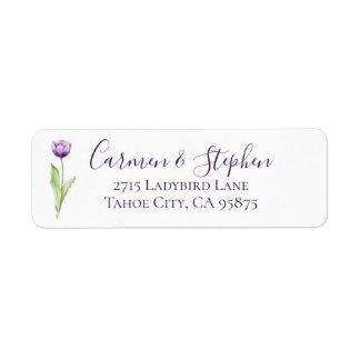 Étiquette Mariage simple mauve-foncé minimaliste de tulipe