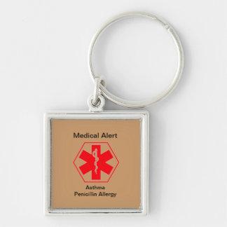 Étiquette médicale de sac à dos d'alerte porte-clé carré argenté
