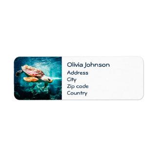 Étiquette Mer merveilleuse de turquoise de la vie d'océan de
