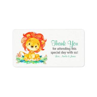 Étiquette Merci de lion d'aquarelle