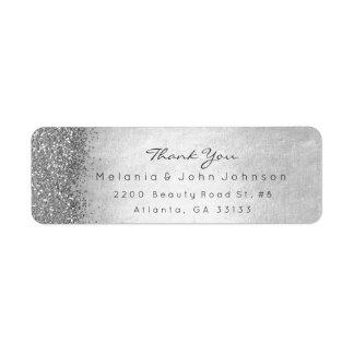 Étiquette Merci scintillant argenté de gris argenté de