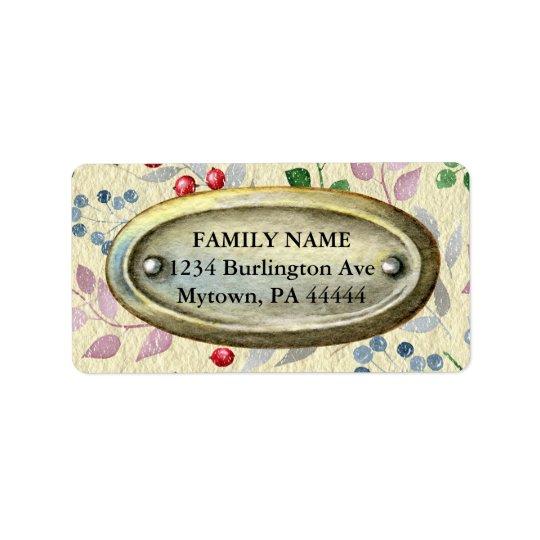 Étiquette Métal vintage sur le parchemin floral