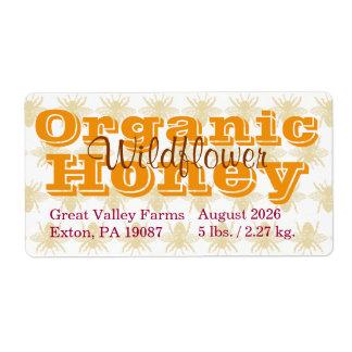 Étiquette Miel organique personnalisé par reine des abeilles