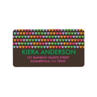 Étiquette Mignon chic de motif coloré d'amusement de coeurs