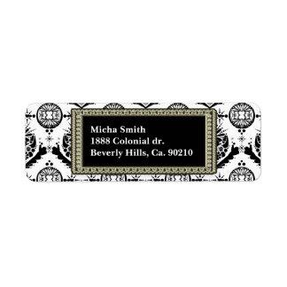 Étiquette Monogramme d'or baroque chic noir et blanc