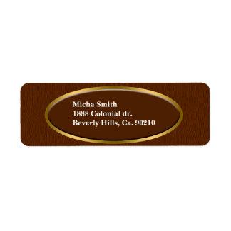 Étiquette Monogramme en bois de grain de Brown