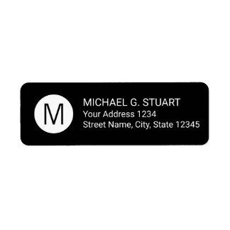 Étiquette Monogramme minimaliste moderne noir et blanc