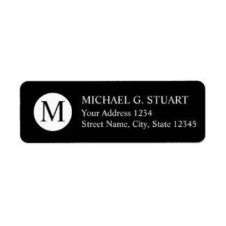 Étiquette Monogramme professionnel noir et blanc