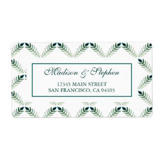 Étiquette Motif botanique vert d'aquarelle - mariage