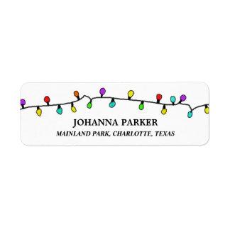Étiquette Motif coloré de vacances de lumières de Noël