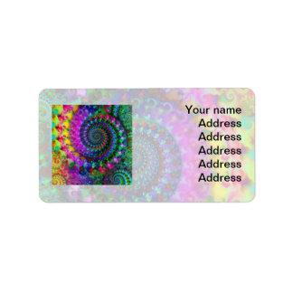 Étiquette Motif de fractale d'arc-en-ciel de hippie