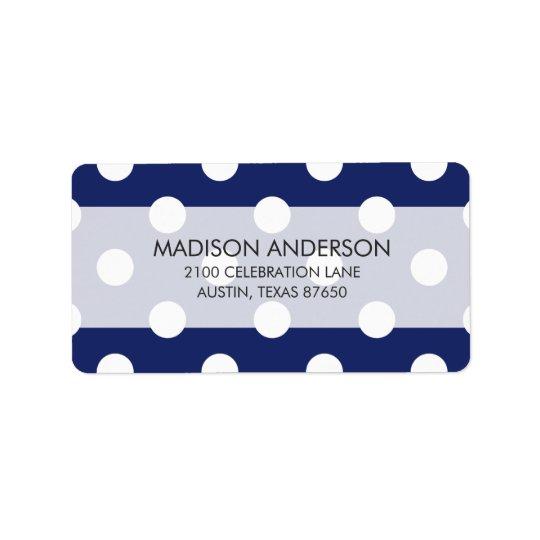 Étiquette Motif de point de polka de bleu marine et de blanc