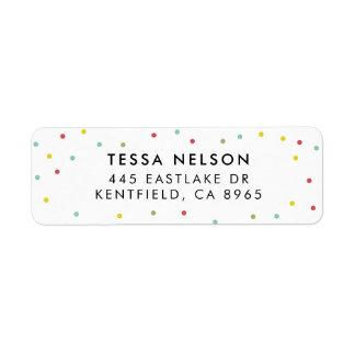 Étiquette Motif de points coloré de confettis