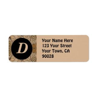 Étiquette motif noir brun