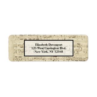 Étiquette Musique de feuille sur le parchemin manuscrit en