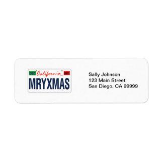 Étiquette Noël 2011 de plaque minéralogique de la Californie