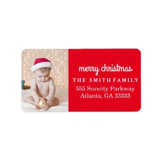 Étiquette Noël de rouge de photo de vacances d'amusement