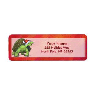 Étiquette Noël de tortue sur le rouge