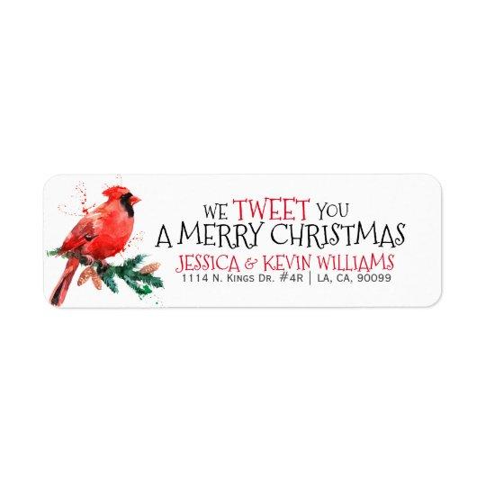Étiquette Noël rouge Robin-nous gazouillons vous un Joyeux