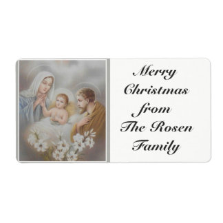 Étiquette Noël saint de Jésus Mary Joseph de famille