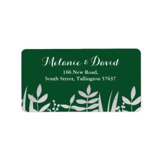 Étiquette Noël vert d'étiquettes de adresse et argenté de