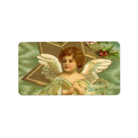 Étiquette Noël vintage, ange victorien avec des étoiles d'or