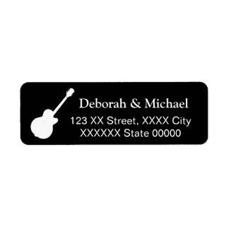 Étiquette noir de couples de la roche de joueur de guitare