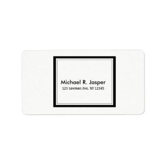 Étiquette Noir et blanc minimaliste simpliste